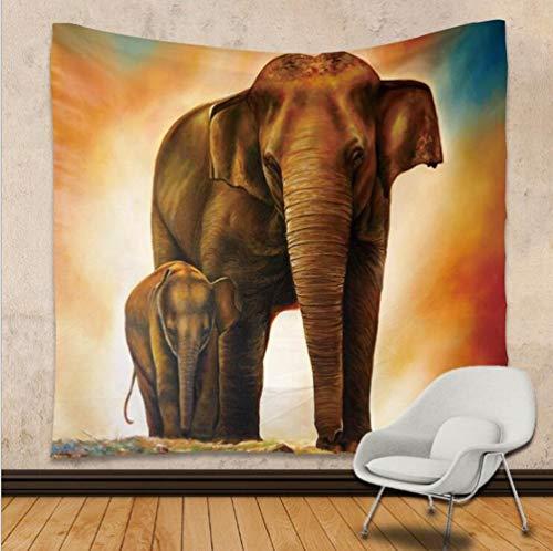 YINGBAOBAO Tapiz Dos Elefantes Tapices Impresos En 3D Toallas De Playa Cortinas...