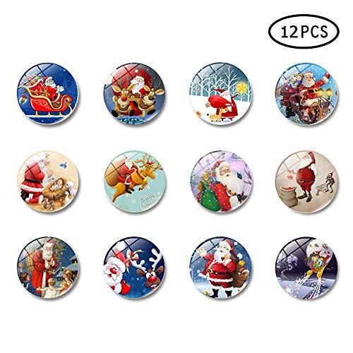 Pawaca Weihnachts-Magnete, 12 Stück Kühlschrank-Magnete, ovale Kühlschrank-Magnete, Aufkleber, 3D-dekorative Glas-Magnet-Kühlschrank-Magnet für Karte, Whiteboard und Kühlschrank, Christmas Magnets