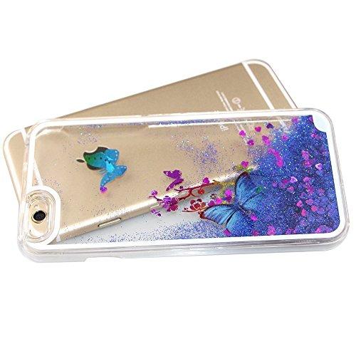 Transparent Hülle für iPhone 6S,Glitzer Hülle für iPhone 6S,EMAXELERS Crystal Hard Case Hülle für iPhone 6 6S,iPhone 6S Case Transparent Glitzer Flower Plastik Schutzhülle Hülle für iPhone 6,Bunte Sta H Butterfly 2