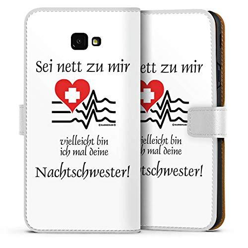 DeinDesign Tasche kompatibel mit Samsung Galaxy J4 Plus Duos (2018) Leder Flip Case Ledertasche Nachtschwester Nurse Krankenschwester
