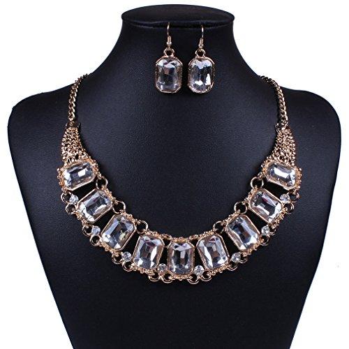 honghu antico placcato oro Embed strass bianco strand collana orecchini set di gioielli - Strass Strand Orecchini