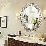 Bathroom mirror Badezimmerspiegel_dekorativer Spiegel Wandspiegel Schminkspiegel Handgefertigt,Zarte Kante (Antik Silber)