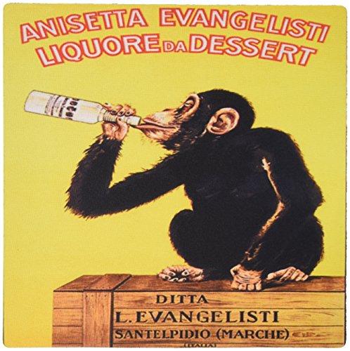 3drose LLC 20,3x 20,3x 0,6cm Maus Pad, Bild der Monkey ist eine Italienische Liquor in dieses Vintage Poster (MP 181071_ 1)