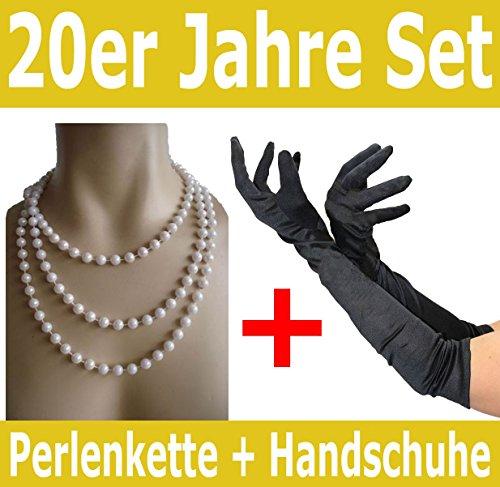 Foxxeo 50001 | Spar-Pack | schwarze 20er Jahre Handschuhe und Perlenkette | Mafia Charleston - Schwarz Und Weiß Halloween-handschuhe