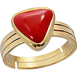 Gemorio Trikona Coral Moonga 6.5cts or 7.25ratti stone Panchdhatu Adjustable Ring For Men