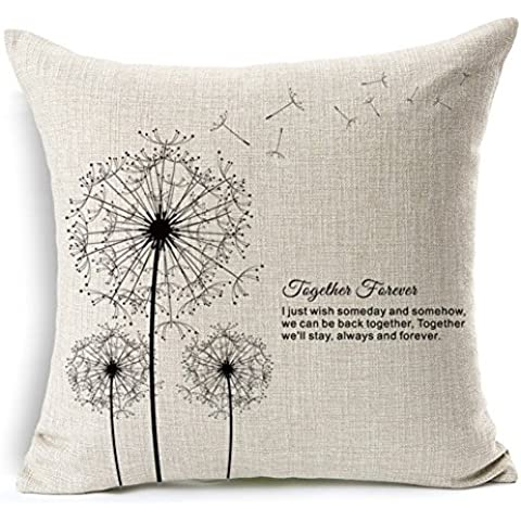 Poens Dream Cuscino, Abstract Flower Dandelion Cotton Linen Decorative Throw Pillow Case Cushion Cover, 17.7 x