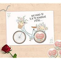 Carte-badge cadeaux demande témoin de mariage, super témoin, demoiselle d'honneur - Collection vélo fleuri
