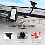 Phone Holder for Car, Mpow Windscreen Car Phone Mount Universal Windshield Car Mount with Extra Dashboard Base and Long Flexible Arm Cars Cradle for iPhone 8 7 6s Plus 6s 5 Samsung S8 S7 HTC Sony LG and Other Smartphones