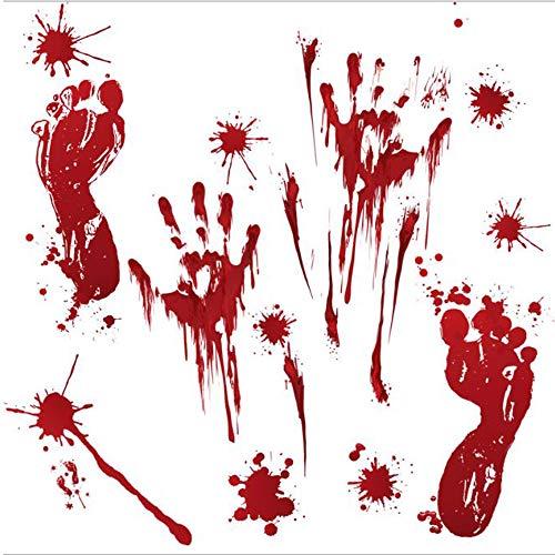AUSSYUN Halloween-Dekoration, blutige Fußabdrücke, blutige Handabdrücke, Bodenfenster-Aufkleber, blutige Handabdrücke, Fußabdruck, Horror-Badezimmer, Zombie-Party-Dekoration, Zubehör (2 Bögen) (Halloween Requisiten Blutige Diy)