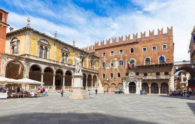 adrium Alu-Dibond-Bild 140 x 90 cm:Piazza dei Signori with statue of Dante in Verona. Italy, Bild auf Alu-Dibond