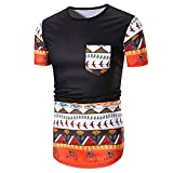 Mymyguoe Männer Kurz Tops Afrikanischer Druck Running-Shirts für Herren Kurze Ärmel Hemden Fun-T-Shirts Freizeitshirt Sportswear Business Hemden Yoga Athletisch Sweatshirts Outdoor Running T-Shirts