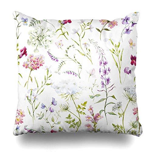 (saletopk Dekorativer Kissenbezug Lavendel Pink Vintage Aquarell Blumenmuster zarte lila Blume Natur Grün Rittersporn Frühling Reißverschluss Design 45,7 x 45,7 cm quadratisch Home Decor Kissenbezug)