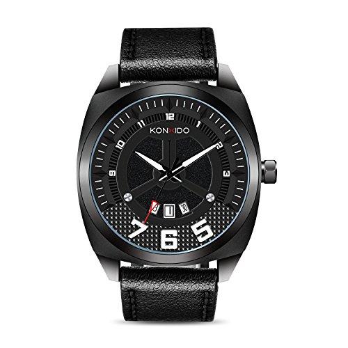 KONXIDO Herren Lederband Datum Kalender Armbanduhr Herren Casual Business Analog Quarz wasserdichte Armbanduhren Klassische Einfache Design Mode Uhr