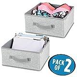 mDesign 2er-Set Aufbewahrungsbox aus Stoff – für Ordnung im Kleiderschrank – Stoffkiste für Kleidung, Decken, Accessoires und mehr – grau