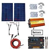 ECO-WORTHY 240W Off Grid Kit pannello solare: Inverter per sinusoidali pura 1000W 220V + 2 PCS...