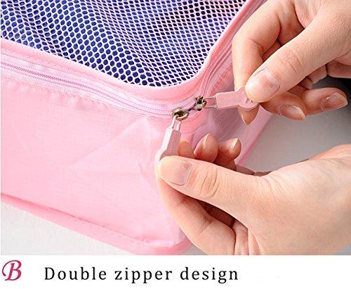 Nylon Leichtgewicht Verpackung Würfel Set Gepäck Organizer Wasserdichte Tasche Verpackung Organizer Set Reise, 6Pcs