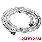 1.2M TO 2.5M CHROME SHOWER BATH HOSE Flexible Stainless Steel Replacement Pipe Fusion(TM) (1.2m)
