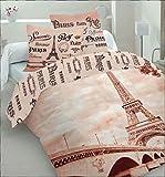 Bettwäsche Paris Eiffelturm 100% Baumwolle Bettbezug 220 x 200 cm + 2 Kissenbezüge 70 x 80 cm