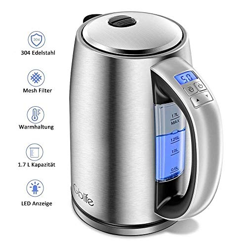 Wasserkocher Elektrischer Wasserkessel Edelstahl 2200W 1,7L mit LCD Farbwechsel und Temperatureinstellung Alarm/Warmhaltefunktion