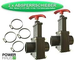 PVC Absperrschieber 38 x 38 mm mit 2 St/ück V2A Schellen