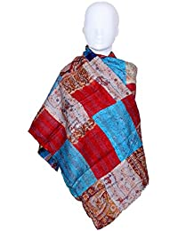 Indiweaves Vintage Silk Hand Quilted Kantha Hand Work Dupattas Reversible Scarves Scarf Patchwork Multicolor(80200... - B0767NSDDC
