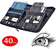 40pcs Sketch pencil kit, Professional sketch pencils set, Sketching Drawing Kit Including Graphite Charcoal Wi