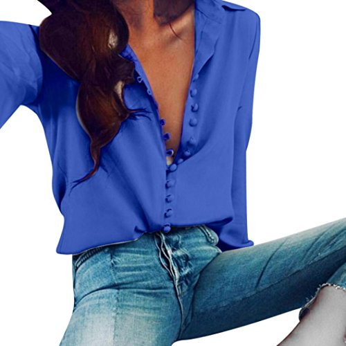 Internet Damen Beiläufiges festes langes Hülsen Blusen Revers Hemd (XXL, blau) (Mantel Sport Blazer Blaue)