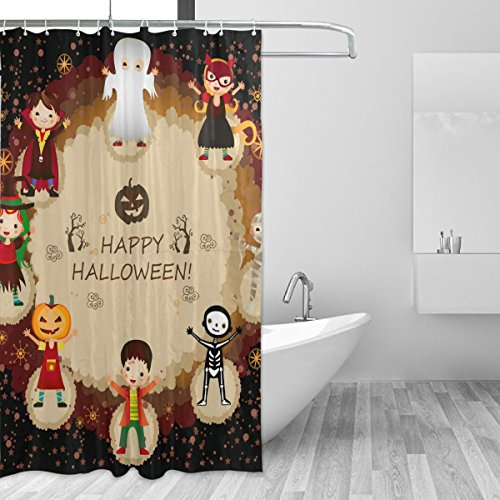 (COOSUN Dusche Halloween Characters Vorhang Set Polyester-Gewebe Wasserabweisend Badezimmer Duschvorhang Set Hauptdekoration mit Haken, 60W X 72L Inche 60x72 Mehrfarbig)