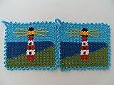 Storchenlädchen 1 Paar Topflappen Leuchtturm am Meer gehäkelt Handarbeit
