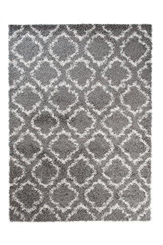 TAPISO SCANDINAVIA Teppich Shaggy Hochflor Langflor Marokkanisches Muster Grau Weiß Weich Flauschig Wohnzimmer Schlafzimmer ÖKOTEX 120 x 170 cm