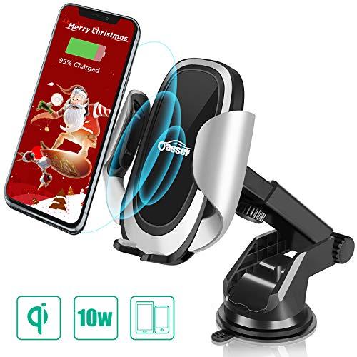 oasser Caricatore Wireless Auto Caricabatterie Ricarica Rapida 10W Adatto Supporto per Samsung Galaxy, iPhone X/8/8 Plus, LG V30 Plus/G6 Plus e Tutti i Dispositivi Dotati di Ricarica Wireless
