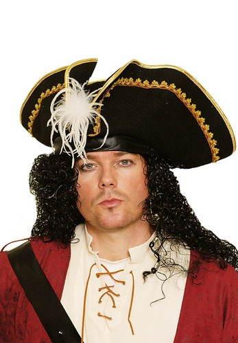 PARTY DISCOUNT Hut Dreispitz Pirat mit weißer Feder, schwarz