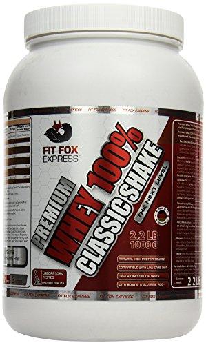 Fit Fox Express Premium Whey 100% Protein (Eiweißshake, Molkenprotein mit Dosierlöffel) Classic Peanut Hazelnut Cream, 1er Pack (1 x 1 kg), 1000 g Dose -