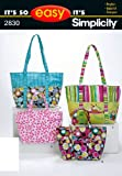Simplicity Pattern 2830 It's So Easy Bags Size, One Size