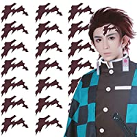 Aramomo Tattoo Sticker for Demon Slayer: Kimetsu no Yaiba Kamado Tanjirou Cosplay Accessories Waterproof Head Scar Props 21 Pcs (Tanjirou