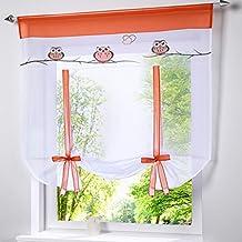 simpvale bordado búho Romano L Descenso sombra cinta tipo de ventana Cortinas, tela, #001, 80cm*140cm