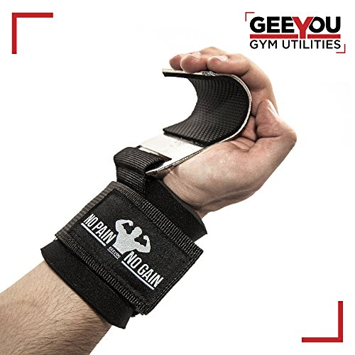 GEEYOU Zughilfen mit Metallhaken / Klimmzughaken / Handgelenkbandage / Powerlifting hooks / Fitnesshooks für effektives Krafttraining