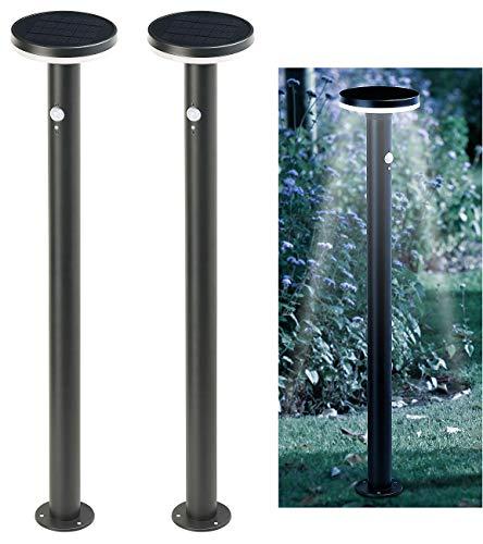 Lunartec LED-Solar-Wegleuchte: 2er-Set Premium-LED-Solar-Wegeleuchte, PIR-Sensor, Nachtlicht, 600 lm (Wegbeleuchtung mit Bewegungsmelder)