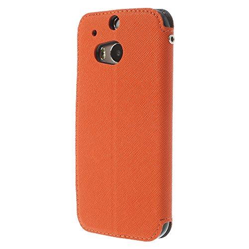 Handy Schutz in Perfektion | Ultra Slim Premium Handy Flip Case Cover Klapp Leder Tasche Schutz Hülle Etui Bumper mit Fenster aus hochwertigem Kunstleder mit Silikon Innen Schale Original Roar Fancy C Orange