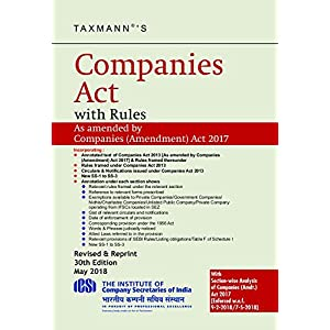 Companies Act with Rules (Hardbound Pocket Edition) (30th Edition 2018)