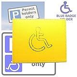 AKH Brieftasche für Behindertenausweis, 100% Leder, Blau