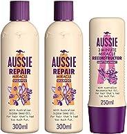 Aussie Repair Miracle Hair Shampoo 300 ML Dual Pack + 3 Minute Miracle Treatment 250 ML