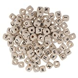 Sharplace 100er Set Buchstaben Perlen Zum Auffädeln Bunte/Weiß Perlen Holzperlen Würfelperlen Bastelperlen Dekoperlen für Armband Halskette Schmuck DIY - Weiß
