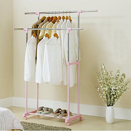 Sharon Einstellbare Kleiderbügel, Rolling Floor Kleiderbügel, Doppel Kleiderstange, Lagerung und Schuhständer, L83-135 cm * W43 * H95-165...