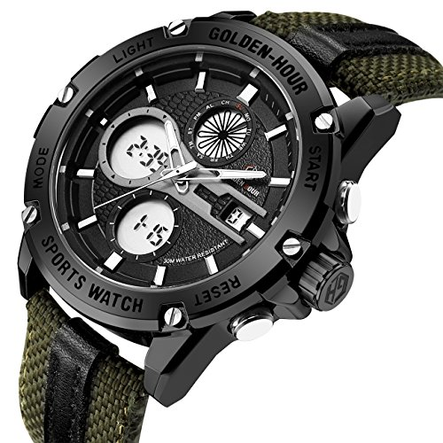 Herren Sport Analog Digital Uhren Outdoor Nylon Wasserdicht Armee Uhr, Wecker/Timer, Big Face Military Armbanduhren für Herren mit LED-Hintergrundbeleuchtung – Schwarz