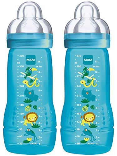 MAM 99950500 - Easy Active Baby Bottle 330 ml, Babyflasche, Doppelpack für Jungen