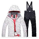PEIN Damen Skianzug Mit SchneegüRtel/Winddichtes Wasserdichtes Thermo-Set/Outdoor-Sport-Kapuzen-Kleidung/White Dot Top/Schwarze Hose