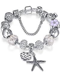 Presentski encanto pulsera regalo de cumpleaños de San Valentín Plata encantos chapados