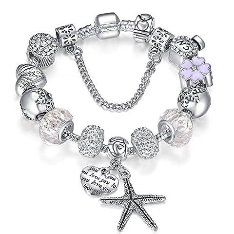 Presentski Charm Bracelet avec coeur Ange's Wings Perfue Bouteille Flocon
