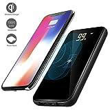Wireless Power Bank 10000mAh Qi- Ladegerät, Tragbare 3 in 1 Kabellos Externer Akku für iPhone 8/8Plus, iPhone X, Samsung Galaxy S9/S9 Plus/S8/S8 Plus/S7/S7 Edge, S6 Edge und Mehr Qi-Fähigen und Android Geräte, Schwarz